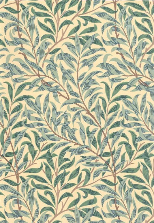 Willow Boughs Minor Wallpaper Climbing small willow leaf print wallpaper on cream