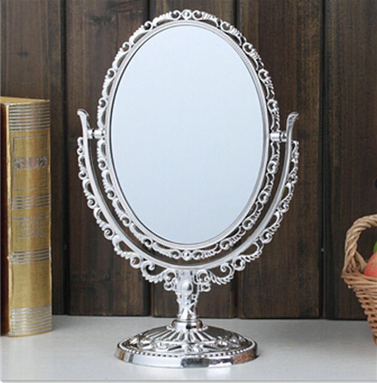 7.8 Inch Double sided Cosmetic Mirror with Light Stainless Steel 1 pcs Makeup Mirror with Light Table Stand Mirror.Beauty tools.