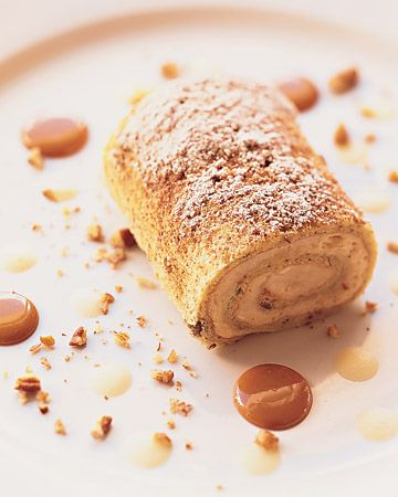 """""""brazo gitano,"""" or """"gypsy's arm,"""" is a traditional Puerto Rican sponge cake; the chef filled this one with dulce de leche -- caramelized condensed milk -- and sprinkled it with chopped pecans"""