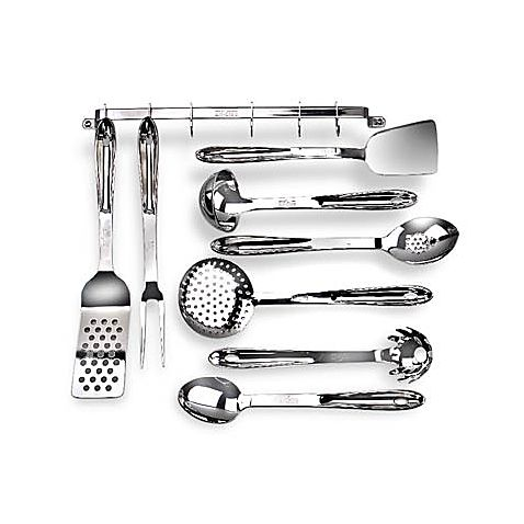 Durable, solid 18/10 stainless steel utensils have handles that match All-Clad cookware.