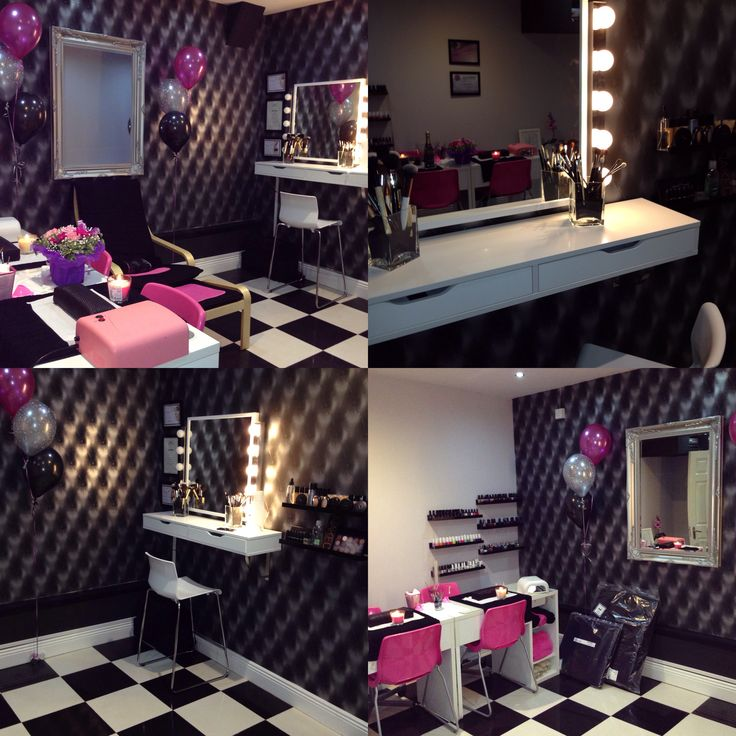 Beauty salon makeup station vanity mirror with lights my for Salon furniture makeup station