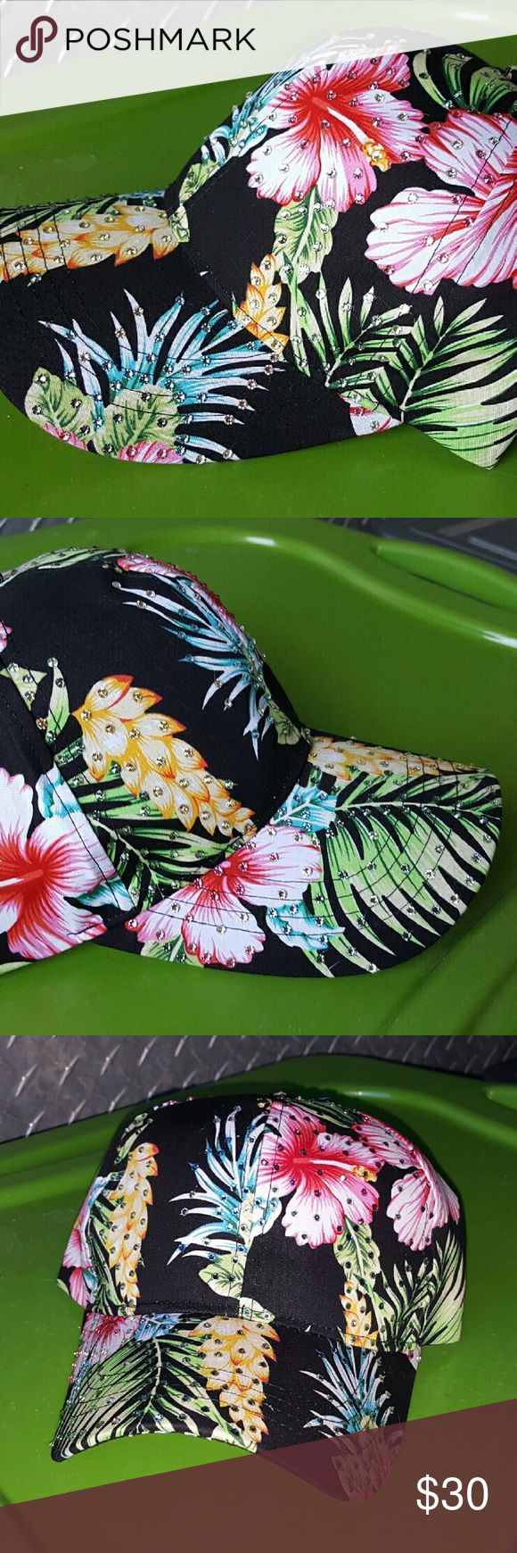 NEW Custom Black Hawaiian Hat LOADED with BLING New Custom 1 of a kind  Black Hawaiian Hat LOADED with Genuine swarovski crystals  Hand Crystalled  Adjustable Buckle back closure Accessories Hats