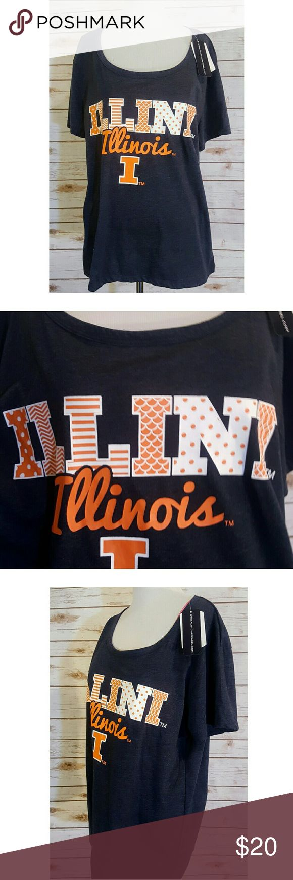 University of Illinois Fighting Illini 2x Tee NWT University of Illinois Fighting Illini 2x Tee NWT Women's Size 2X Measurements on Request New with Tags  Poly Cotton Blend Gift Quality  Thanks We Ship Fast  Updating New Items Daily Klutch Tops Tees - Short Sleeve