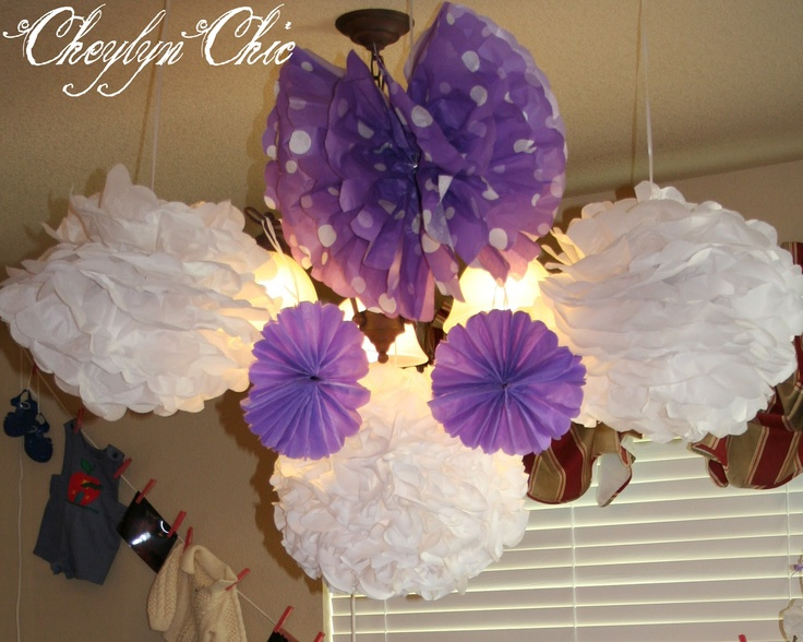 Purple and White Puffs for Loving Lavender Baby Shower