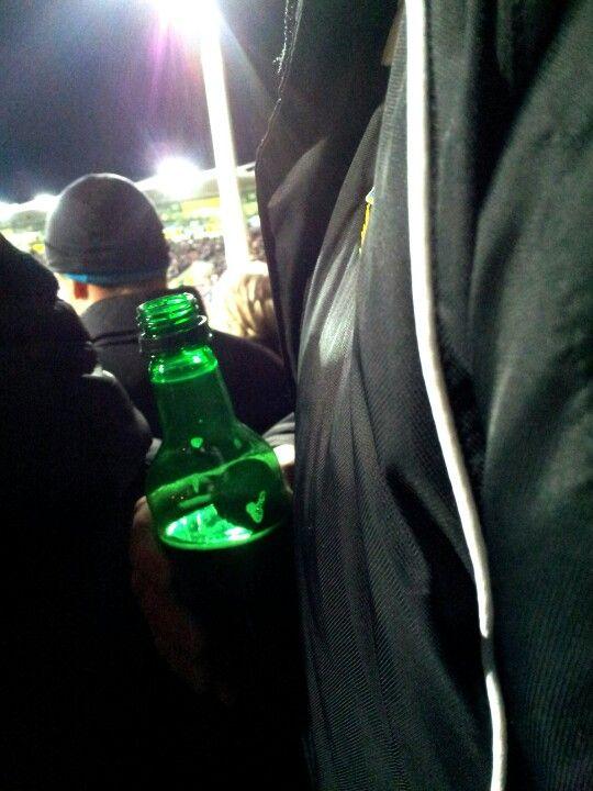 Bubble heart in the beer bottle.
