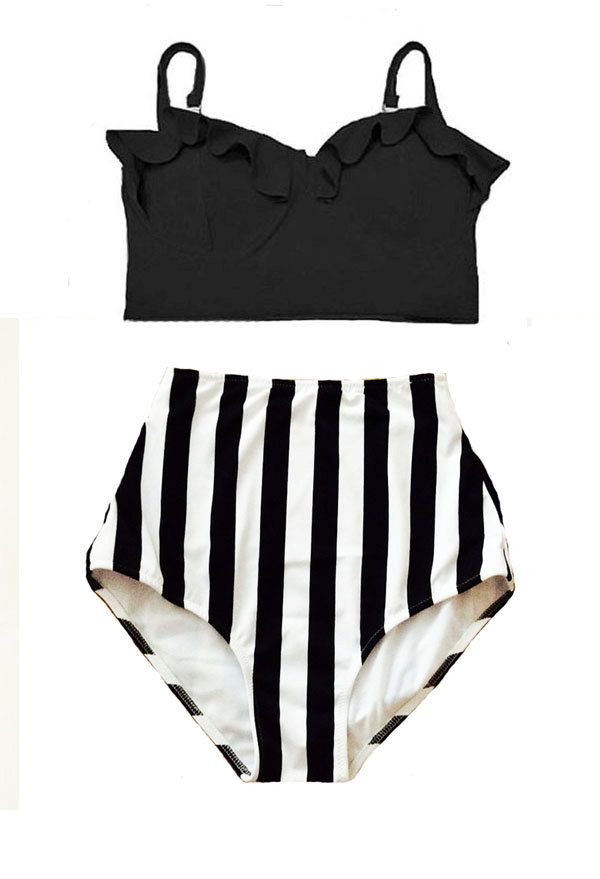 Black Midkini Top and White/Black Stripe High Waisted Waist Highwaist Shorts Bottom Swimsuit Swimwear Bikini set Bathing suit wear S M L XL by venderstore on Etsy