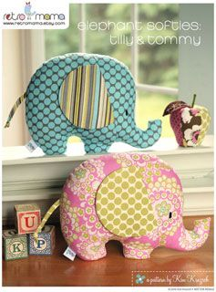 Retro Mama Elephant Softies - Downloadable Pattern