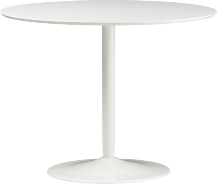 odyssey white dining table in dining tables | CB2: Inspiration Kitchen Dining, Cb2 199 00, Vintage Flea Market, 230 002 Table, Lobby Exec Office Random, Odyssey, Cb2 39D, 39 5 Dia X30 25 H, Dining Tables
