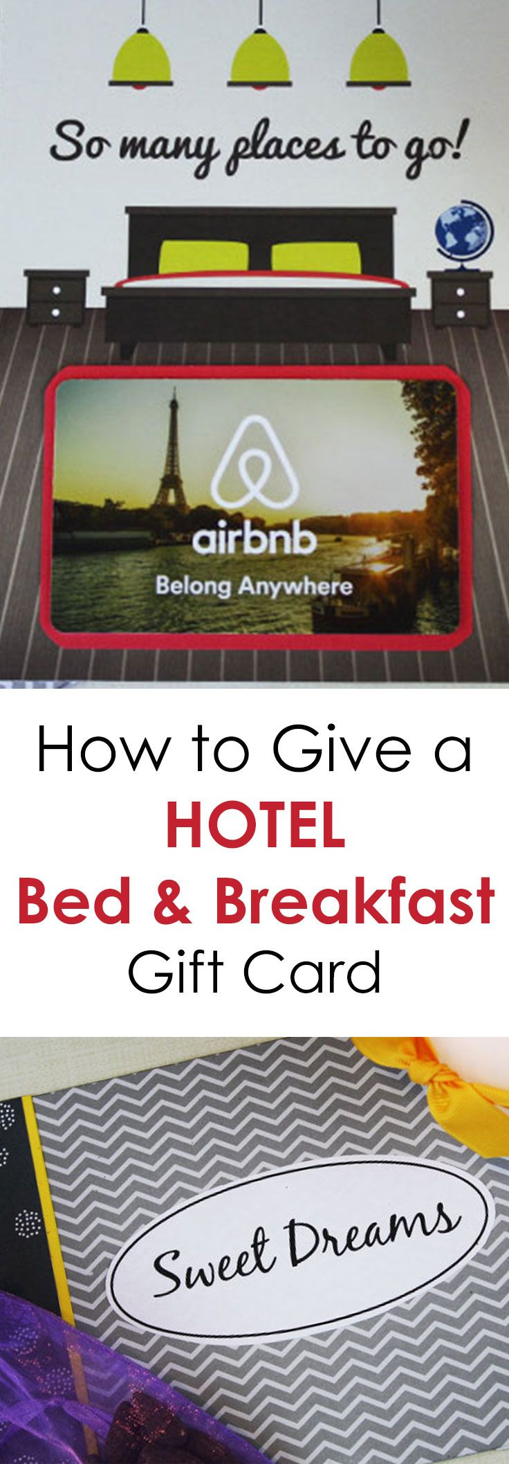When you want to give someone a hotel gift card or a gift card to a Bed and Breakfast, you might be looking for some clever ideas to make the presentation more personal. Not to worry. I've got 5 free printables, but this one is especially perfect for giving someone the gift or an overnight stay. It works for hotel gift cards, bed and breakfast gift cards, and other lodging needs.
