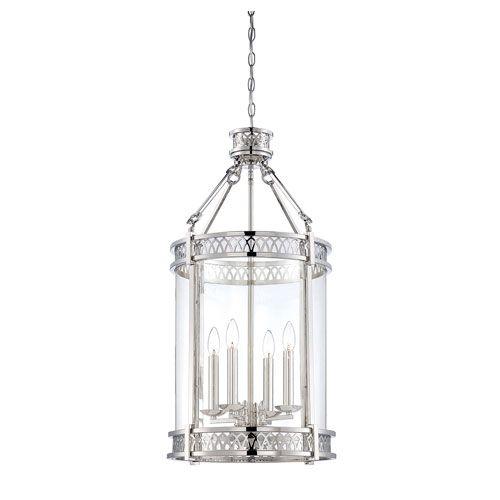 Coronado Polished Nickel Four Light Pendant Lantern Lighting Ceiling