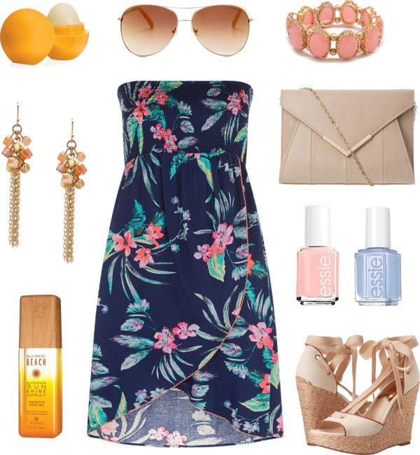 Tropical glam! Great outfit for dinner by the ocean! Navy floral dress with bright & fun accessories.