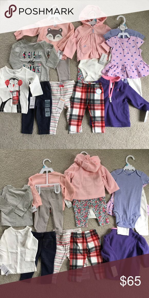 14 piece bundle Bundle of brand new baby girl items. All carter's brand except for striped middle leggings which are Gymboree Outlet. All 6 month except Gymboree leggings are 3-6 month. Carter's Other