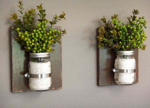 Wooden Wall Sconces, Wall Sconces, Set of 2 Sconces, 16 oz Mason Jars, Distressed Wood, Dark Brown, Rustic Wall Decor
