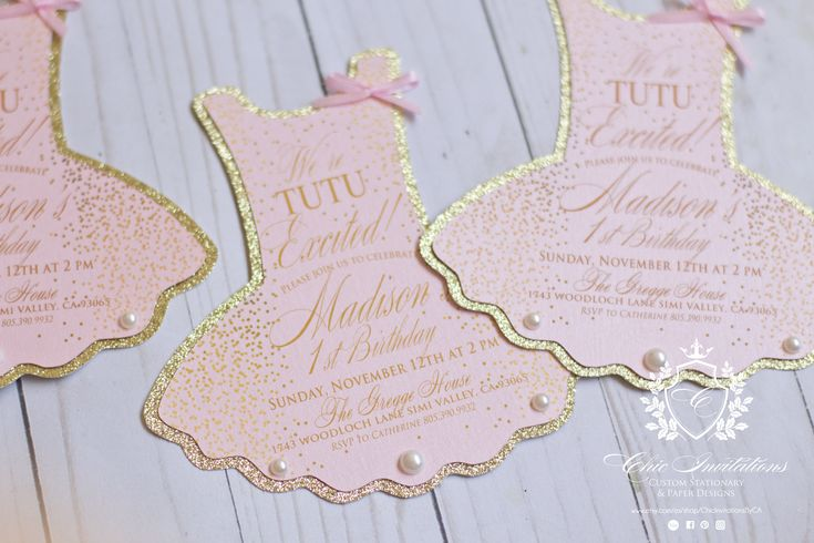 """Thanks for the kind words!  ★★★★★ """"She is great!! Exactly what I wanted. Communication was great as well. Thank you so much!"""" minouche metzger  http://etsy.me/2DzOTad  #etsy #papergoods #ballerina #ballet #tutu #invitation #girl #birthday #gold #pink"""