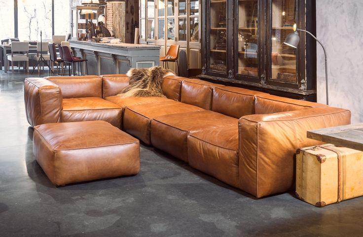 Leather corner sofa cognac colour