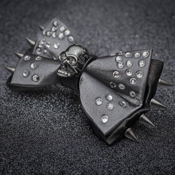 Gunmetal Skull and Rhinestones Bow Tie by JakeSimp on Etsy
