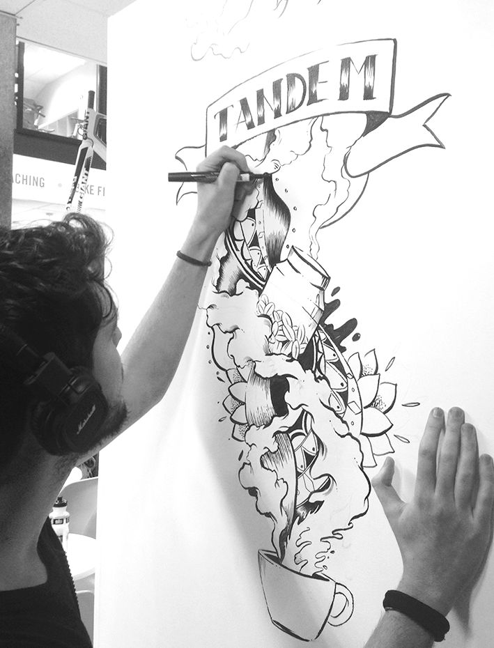 Emanuele Ricci - drawing 2016 - Mural for Tandem Ciclo Cafe, a relaxed place in Crystal Palace - London.