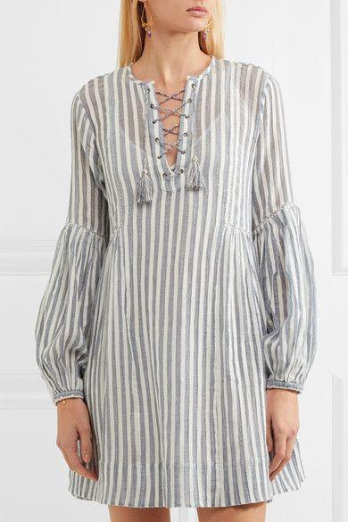 Ulla Johnson - Helena Striped Cotton-gauze Mini Dress - Sky blue - US