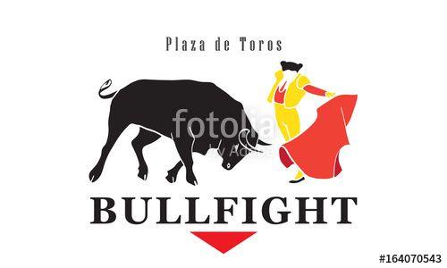 Vector: Bull Fighting poster. Bullfight advertising flyer Spain fiestas or festivals abstract design Vector illustration