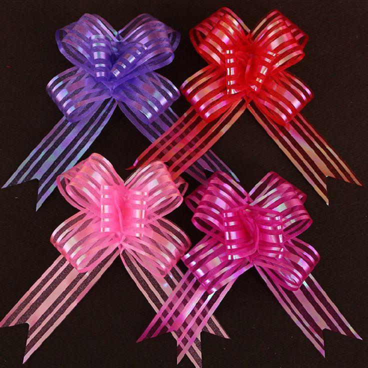 10pcs/lot Pull Bow Ribbon For Wedding Decoration Car Decorate Wedding Car Ribbon Pink Car Wrap Flowers 5 Colors Wholesale