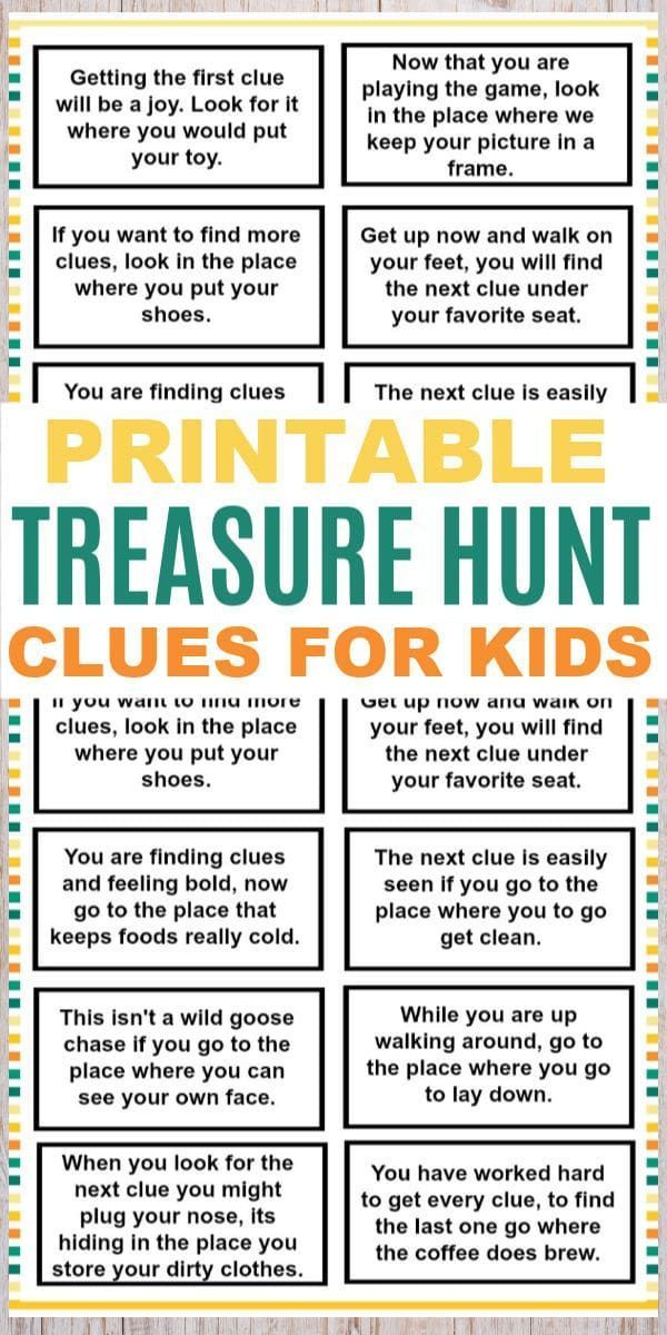 Treasure Hunt Clues for Kids Treasure hunt clues