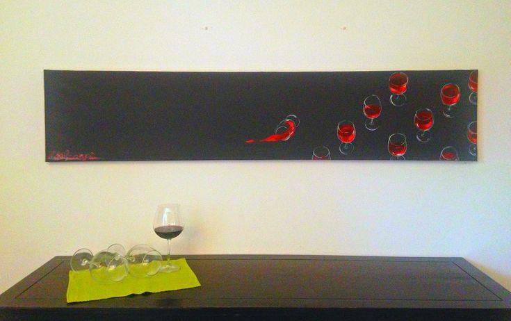 Grande dipinto minimalista con bicchieri di vino rosso/ Dipinto moderno per sala da pranzo o grande cucina / Dipinto originale grigio nero di PaintingsByCipeciop su Etsy