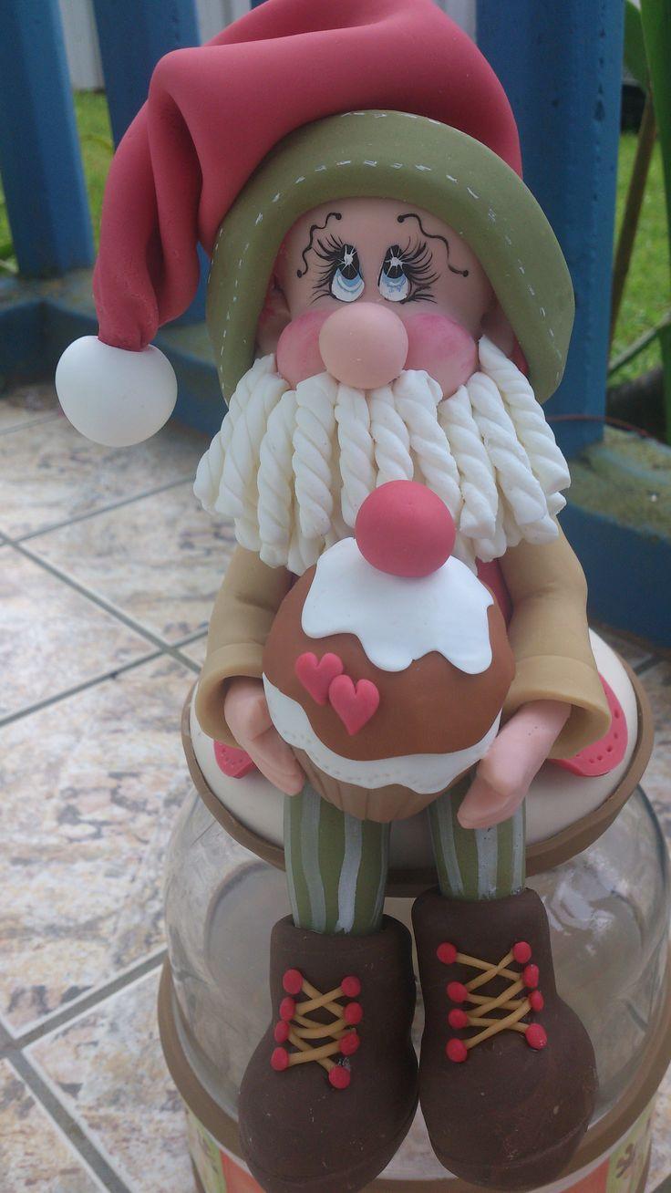 Pote de vidro com  Papai Noel