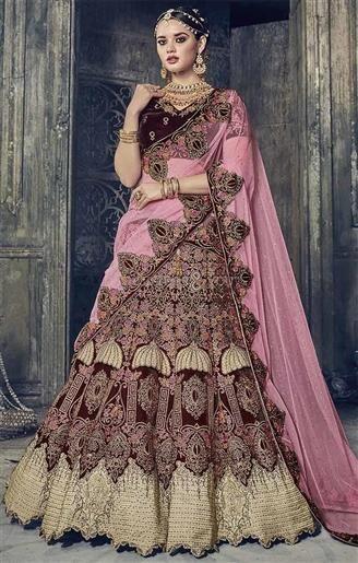 bf47bf9ad0 Grab This Maroon Velvet #Engagement #Lehenga #Choli In Pink With Net Half  #Sari. This #Aline #Lengha#Choli #Saree Has Stone, Zari Contrast  #Embroidery ...