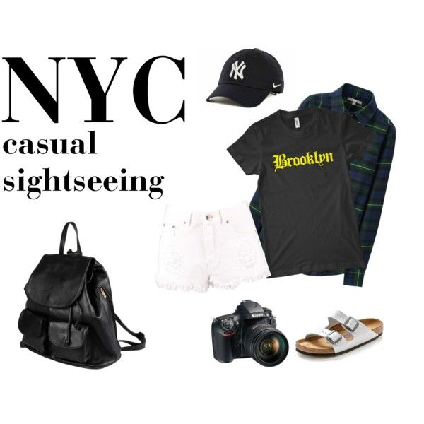 NYC sightseeing casual by jasmine-adisbeth on Polyvore featuring мода, Uniqlo, Boohoo, Birkenstock, PARENTESI, NIKE and Nikon