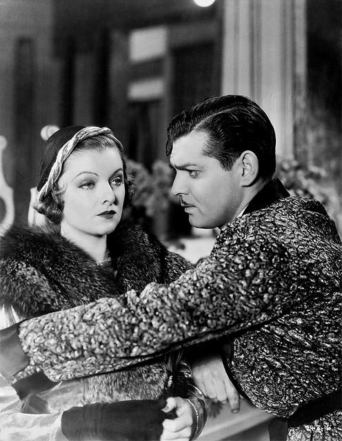 Myrna Loy and Clark Gable a scene from Manhattan Melodrama also starring William Powell.