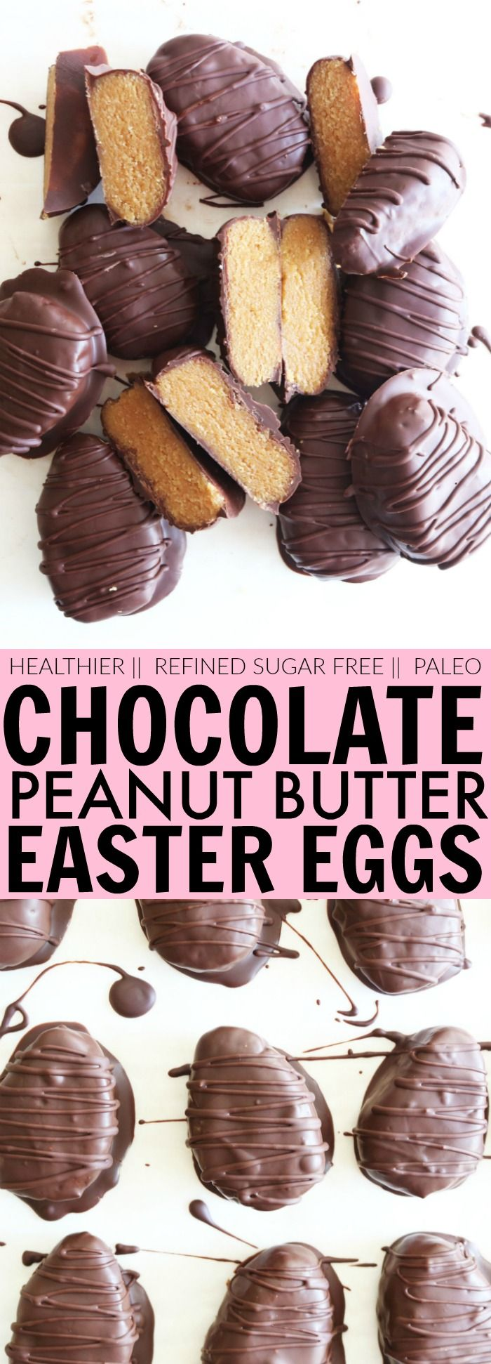 These healthier Chocolate Peanut Butter Easter Eggs are gluten free, refined sugar free and will spare you that dreaded sugar crash! With only a handful of simple, wholesome ingredients, you'll be handing these adorable eggs out like candy ;-) thetoastedpinenut.com #glutenfree #refinedsugarfree #candy #easter #eggs #chocolate #peanutbutter #paleo