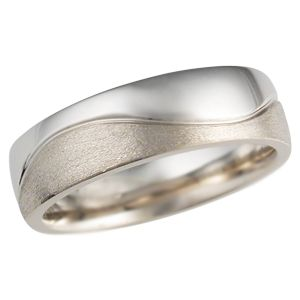 Two Tone Wedding Band in White Gold and Palladium - This modern wedding ring combines two kinds of metals.    Please note that the price calculator yields quotes for one metal only; inquire within for two-tone pricing.   - This unique wedding band is made of palladium and white gold. The mixed finishes--high polish and brushed--create great contrast!