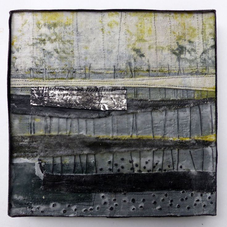 Marshscape Collage #2/16, Linen, wax, metal, 20 x 20 cms