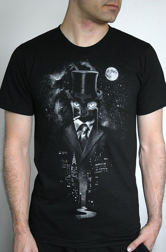 Night Watch - American Apparel Mens / Unisex T shirt ( Space, Galaxy, Cat print clothing, Surreal t shirt ) on Etsy, $23.00