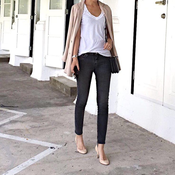 white tee, dark grey jenas, nude blazer and heels, black bag