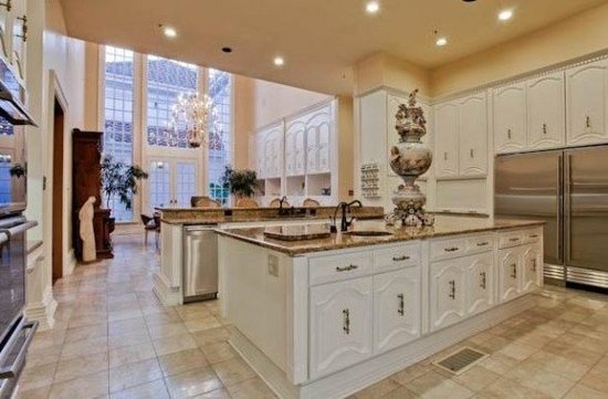 Kitchen/Casual Dining in the pink mansion of the late Mary Kay Ash, of Mary Kay Cosmetics fame. The Dallas mansion was designed by architect Fred Wynn...