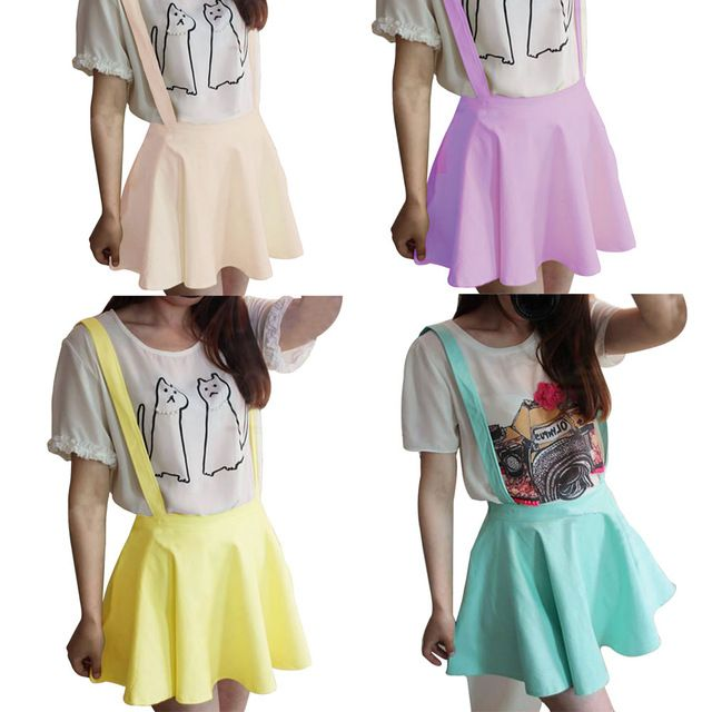 I prefer jeans, but I really like these suspender skater skirts. I think I want some!