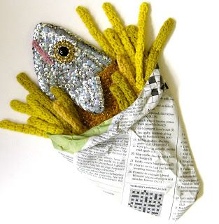 Crochet fish and chips by artist Kate Jenkins