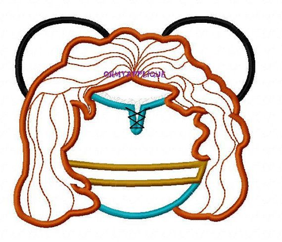 Minnie Ears Princess Brave Embroidery Applique Design  4 inch for 4x4 Hoop 5 inch for 5x7 Hoop 6 inch for 6x10 Hoop  Formats included in…