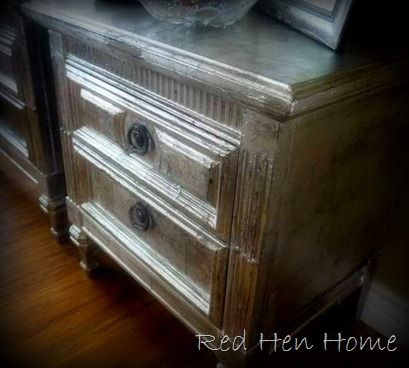 Faux-finishes with tin foil and wallpaper paste. Wow.: Furniture Makeover, Diy Crafts, Diy Furniture, Foil Nightstand, Aluminum Foil, Furniture Refinishing, Furniture Finish, Foil Furniture, Tins Foil