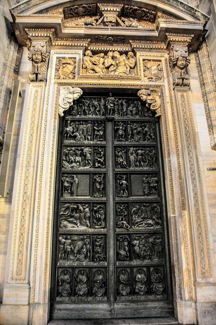 Door of Milan Duomo, Italy