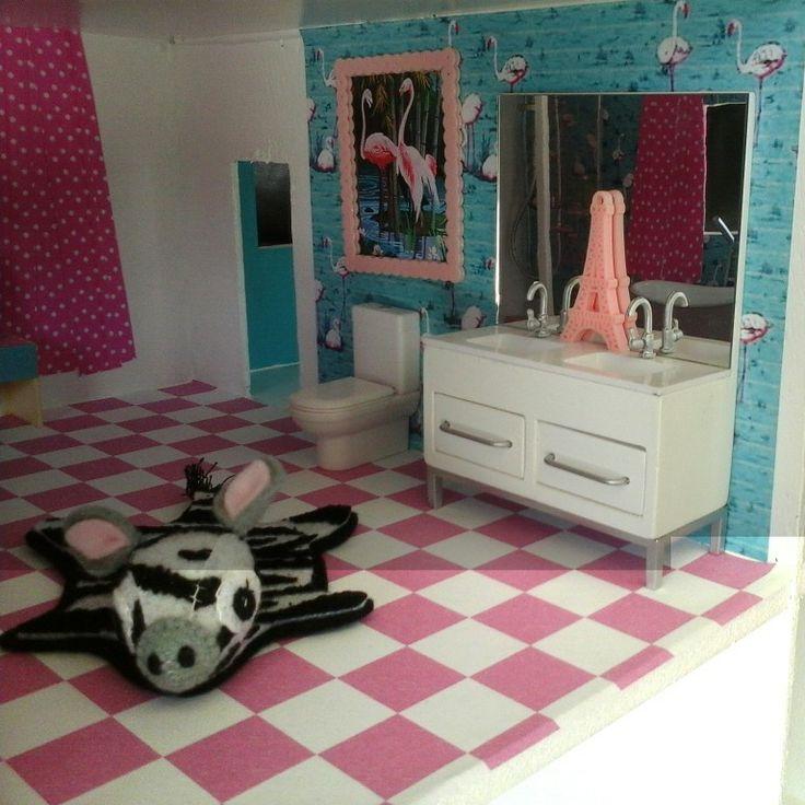 Dolls house bathroom. Faux zebra rug. #dollshousemakeover