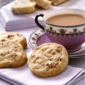 Pretty pecan biscuits with a hint citrus - perfect for afternoon tea