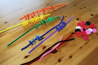 sorting buttons on pipe cleaners (by color): Finemotor, Tot School, Fine Motor Skills, Pipe Cleaners, Color, Buttons, Kid