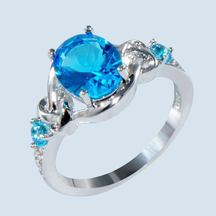 Aquamarine Oval Cut CZ Center Gem Wedding Ring 10KT White Gold Filled Size 6-11…