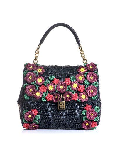 Dolce & Gabbana floral raffia bag Matches