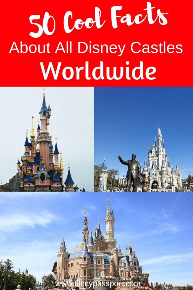Ever wondered what went into the construction of the Disney Castles around the world? Check out our 50 facts about all of them! Disney Orlando, Disneyland Paris, Disneyland California, Disney Tokyo, Disney Hong Kong, and Disney Shanghai. #disneytravel #disneycastles #shanghaidisney #disneytokyo #waltdisneyworld #disneyland #disneyhongkong #disneyparis