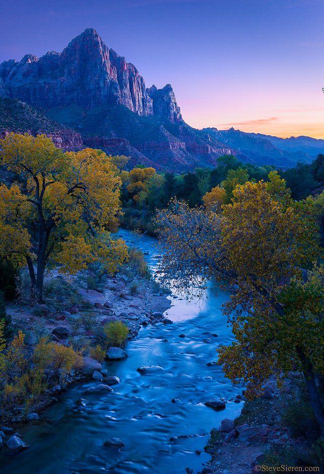 Virgin river, Autumn in Zion, Utah, USA, by Steve Sieren, // Premium Canvas Prints & Posters // www.palaceprints.com