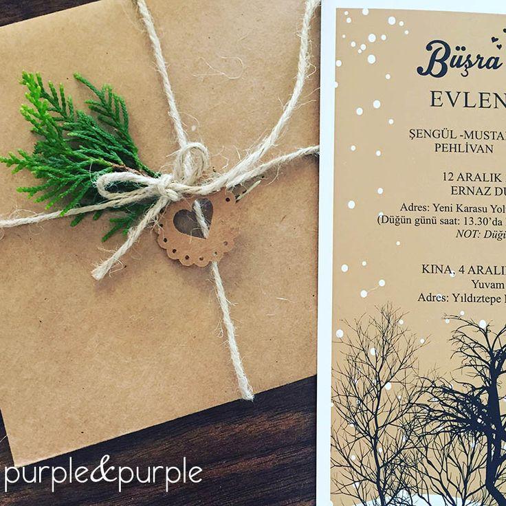 Kış Temalı Düğün Davetiyesi ve Zarfı