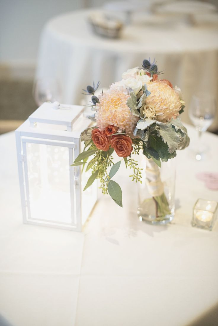 Reception Centerpiece for a casual garden wedding by www.petalsandtwigsrva.com.  Photo by Maria Grace Photography